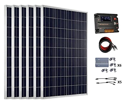 ECO-WORTHY 600 Watts (6pcs 100 Watt) Solar Panel Kit with 20A LCD Charge  Controller for 24 Volt Battery System