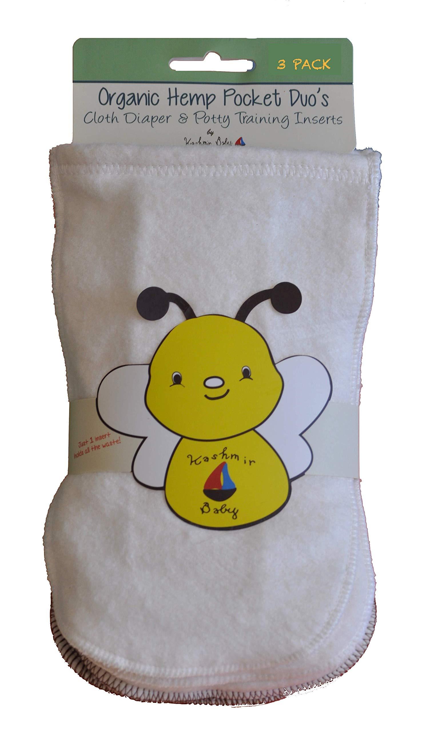 Kashmir Baby Hemp/Organic Cotton Cloth Diaper/Potty Training Inserts 3 Pack Small by Kashmir Baby