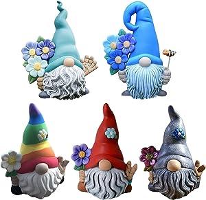 HUANKD Faceless Magic Garden Gnome Resin Statue Decor, Outdoor Decor for Patio Deck Yard Garden Lawn Porch Figurines, Funny, Welcome Garden Resin Gnome Statue Decoration,Ornament Gift (Multicolor -3)