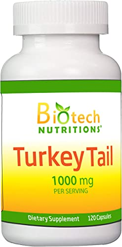 Biotech Nutritions Non-GMO Turkey Tail Mushroom 1000 Mgper Serving 120 Vegetable Capsules