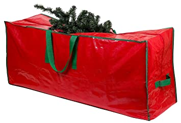 Christmas Tree Storage Bag - Stores a 9-Foot Disassembled Artificial Xmas Holiday Tree. Durable Waterproof Material to Protect Against Dust, Insects, and Moisture. Zippered Bag with Carry Handles.