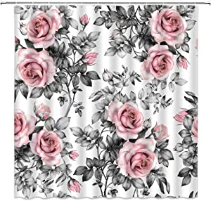 Pink Flowers Shower Curtain Vintage Floral and Leaves in Pastel Color Decor Fashion Rose Love Garden,Pink Gray Fabric Bathroom Set Hooks Included 70x70 Inch
