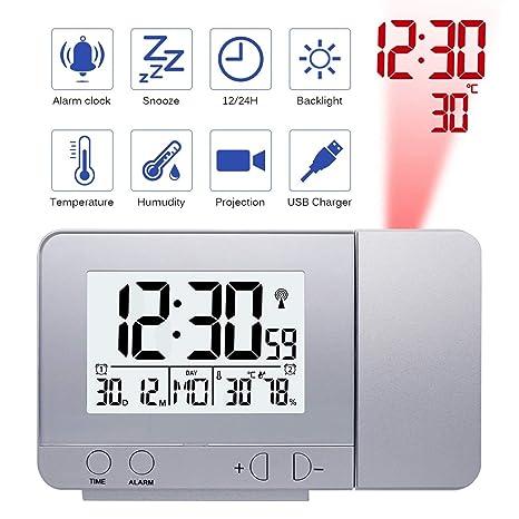Amazon.com: VQP Proyección Digital Tiempo LCD Snooze ...