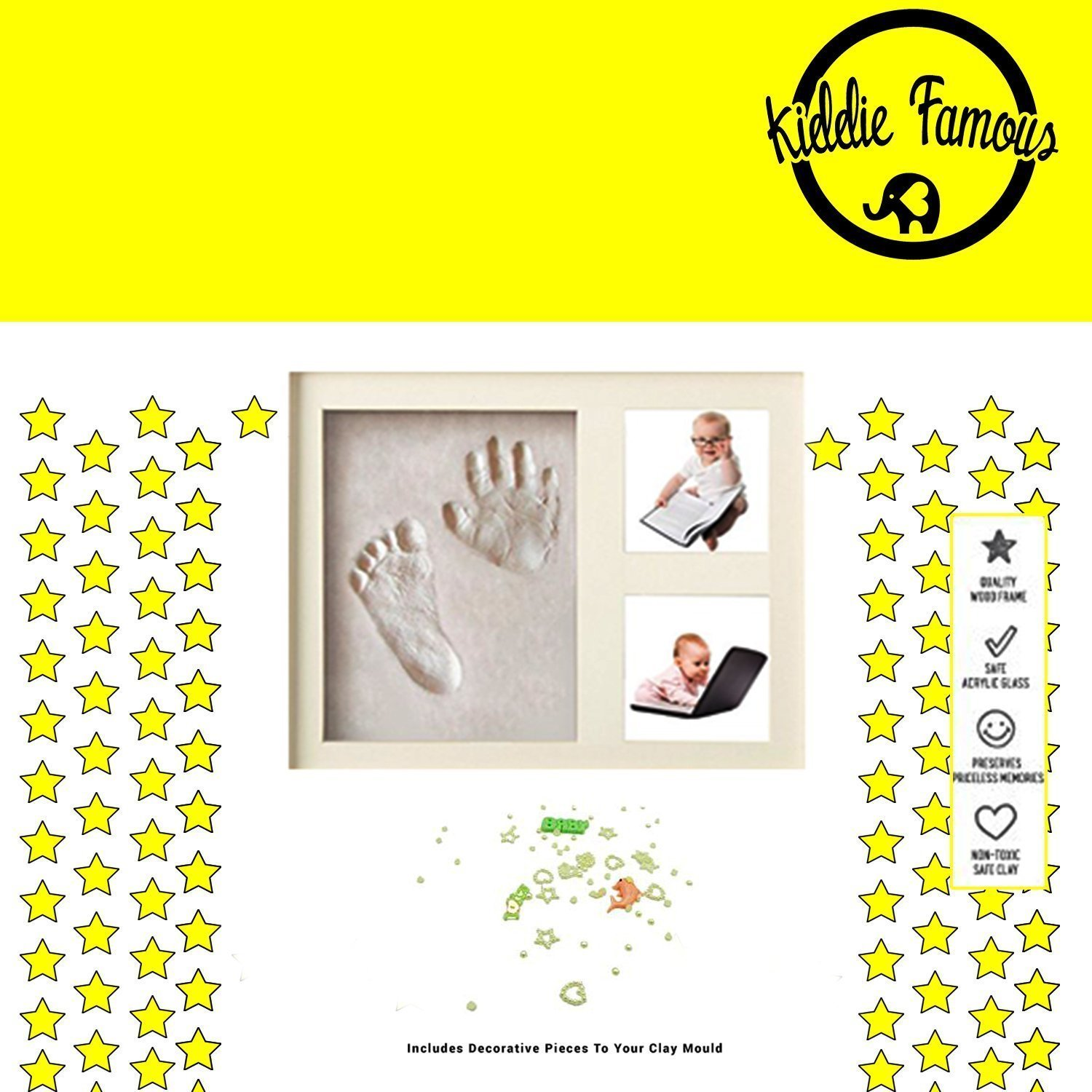 Baby Hand and Footprint Picture Frame (White) - Wood Frame Keepsake Kit with Self-Drying Decorative Clay for Baby Handprint & Footprint - Memorable Boy and Girl Gift for Mother's, Father's