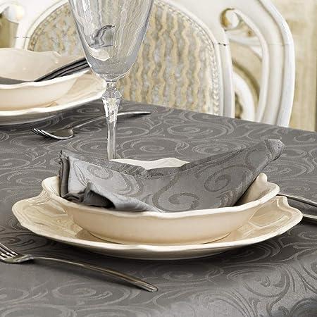 BgEurope Silver dimensioni grandi 59 x 59 150 X 150cm Design con fantasia di linee. tovaglia di lusso color argento con trattamento anti-macchie 20/% poliestere//80/% cotone// cotone//poliestere