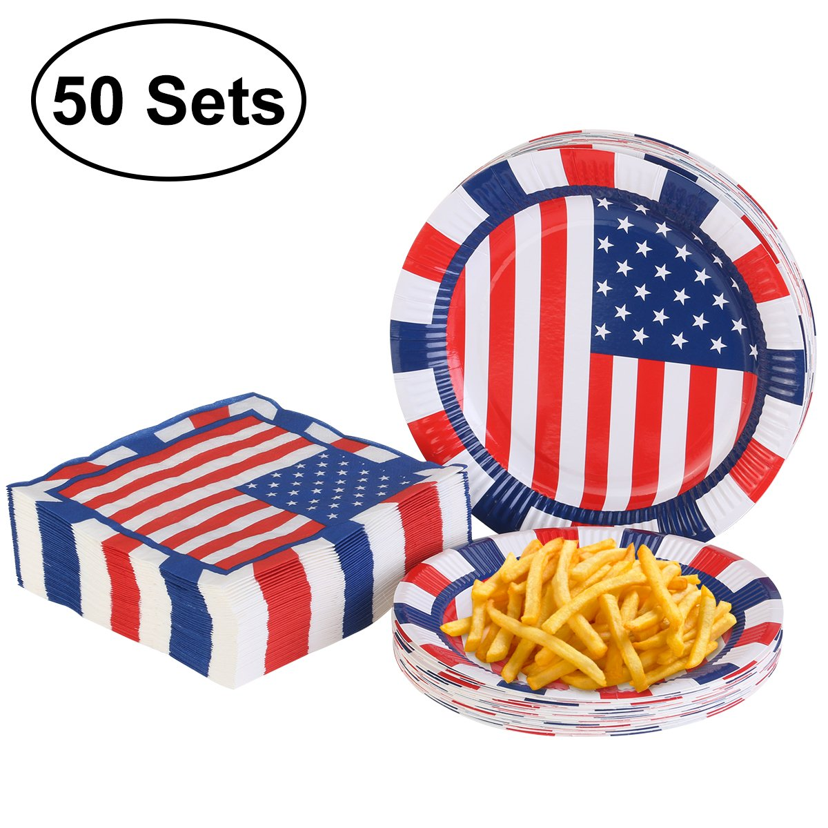 4th of July Plates and Napkins for Patriotic Party Supplies Independence Day Decorations - 50 Pack