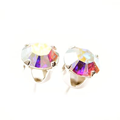 1048dfd236eb9 925 Sterling silver stud earrings for women made with sparkling Rainbow  crystal from Swarovski®. London jewellery box. Hypoallergenic & Nickle Free  ...