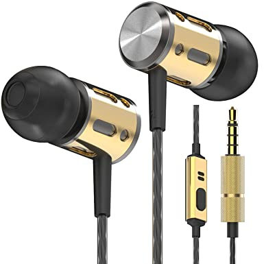 d897aad7e86 Betron AX1 Noise Isolating Earphones Headphones with Microphone Bass Driven  Sound (Black Gold)