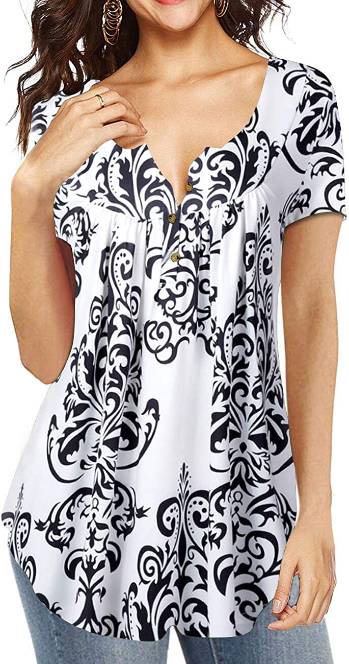 Eanklosco Womens Tops V Neck Floral Print Shirts Swing Ruffle Blouses Button up Tunic Casual Flowy Long//Short Sleeve