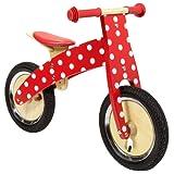 Charles Bentley Wooden Balance Training Balance Bike Age 3+ - Red Spotty Design
