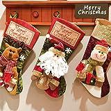 Sinicyder 3pcs/set Medias de Navidad Calcetines de Navidad para el Regalo del Bolso de Azúcar, Decoración del árbol de Navidad, Fiesta de Navidad,Grande