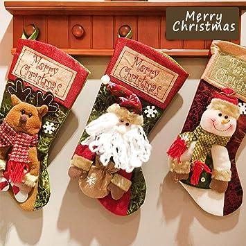 Sinicyder 3pcs/set Medias de Navidad Calcetines de Navidad para el Regalo del Bolso de Azúcar, Decoración del árbol de Navidad, Fiesta de Navidad,Grande: ...