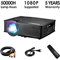 "Mini Projector, PHONECT 2019 Upgraded 1080P and 176"" Display Video Projector, Home Projector 2400 LUX, Portable Projector with 50,000 Hrs LED Lamp Life, Compatible with TV, PS4, HDMI, VGA, AV, and USB"