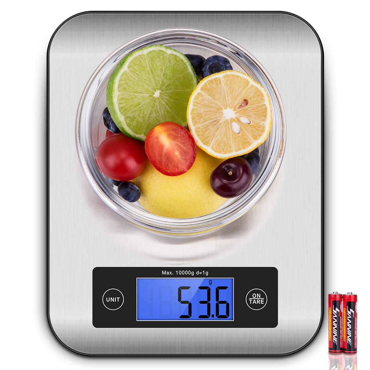 Digital Kitchen Scale, CUSIBOX Multifunction Stainless Steel Food Scales with LCD Display and Tare Function for Baking and Cooking, 22Ib 10kg