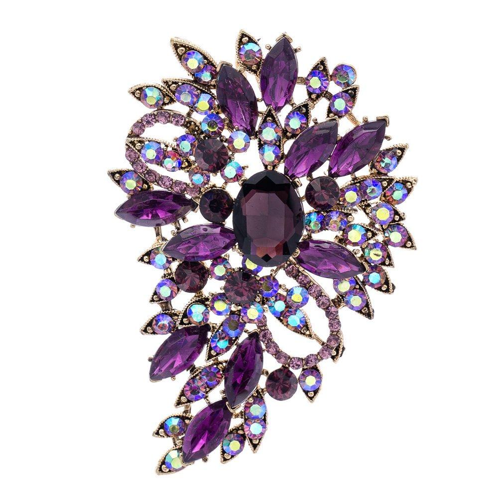Purple Rhinestone Brooch Women Jewelry Broaches Pins Flower Wedding Bouquet Birthday Gifts 4080