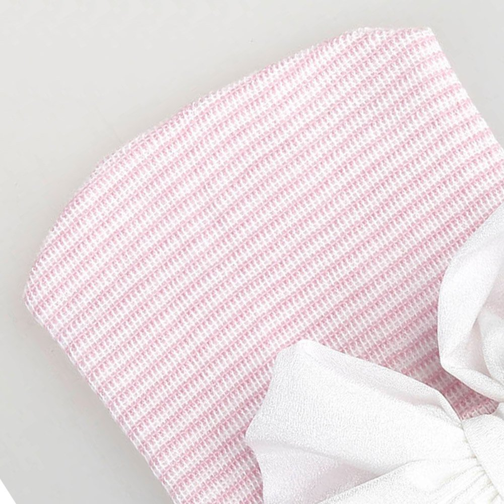 Powder Cap+White Knot ReFaXi Baby Girl Newborn Infant Knitted Soft Hat with Chiffon Bow Tie Cap Striped Shiny