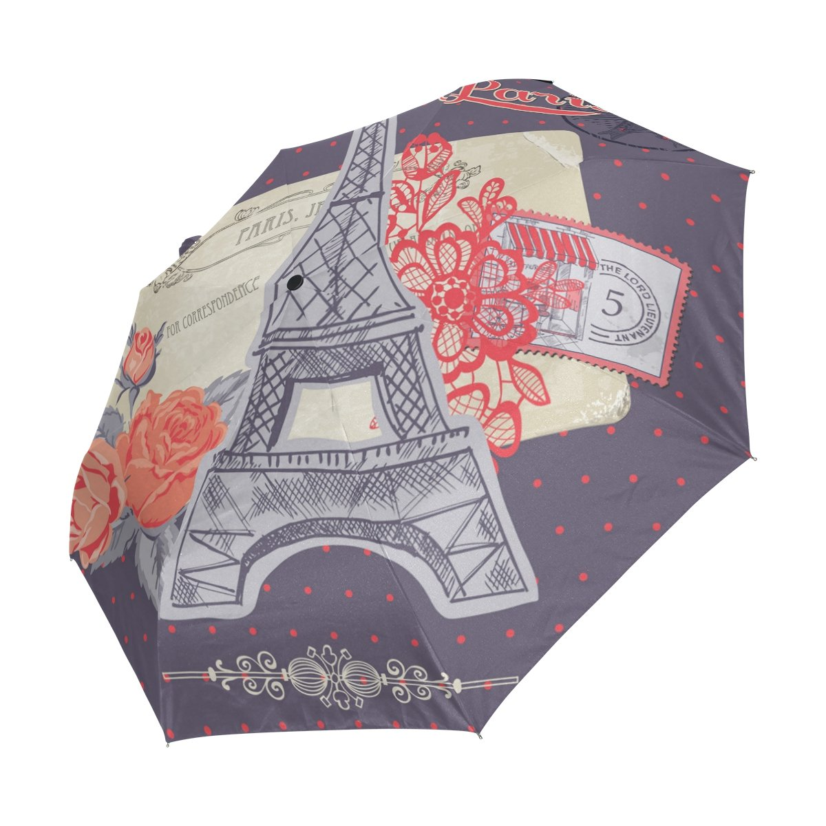 imobaby Windproof Travel Umbrella Paris Eiffel Towel Auto Open Close Folding Strong Compact Umbrellas As074 well-wreapped