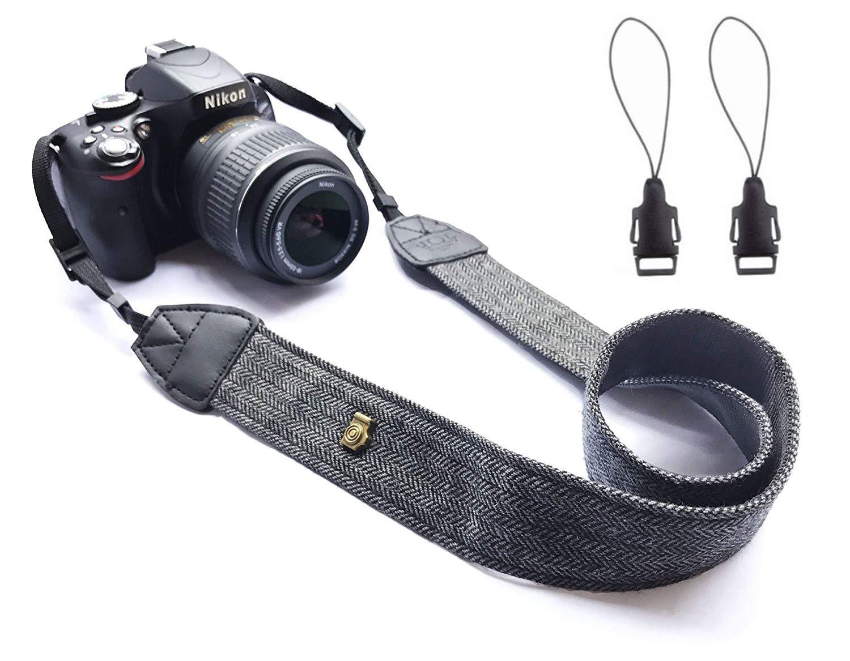 Wanby Neck Shoulder Belt Strap, Vintage Print Soft Colorful Camera Straps Women/Men, All DSLR/Nikon/Canon/Sony/Olympus/Samsung/Pentax/Olympus (Black)