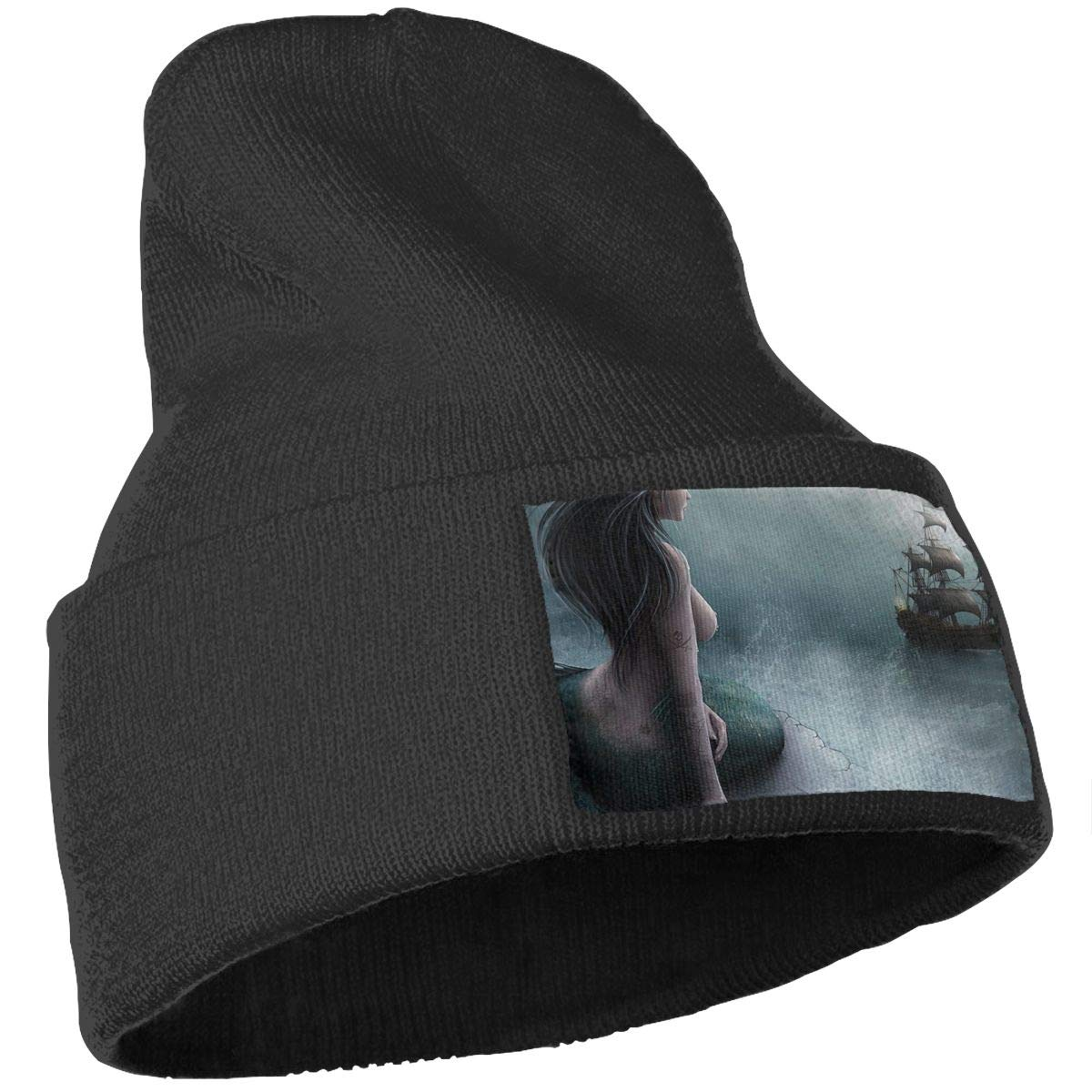 Mermaid and The Sailing Ship Men Women Plain Cuff Knit Beanie Hat Skull Ski Beanie