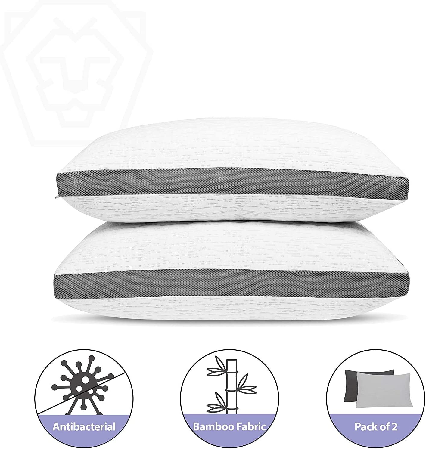 2 Pack Shredded Gel Memory Foam Pillow Antibacterial Silver Infused Bamboo Washable Cover Pillows for Sleeping Cooling Breathable Adjustable Pillow Neck Support Side Stomach Back Sleeper (Standard)