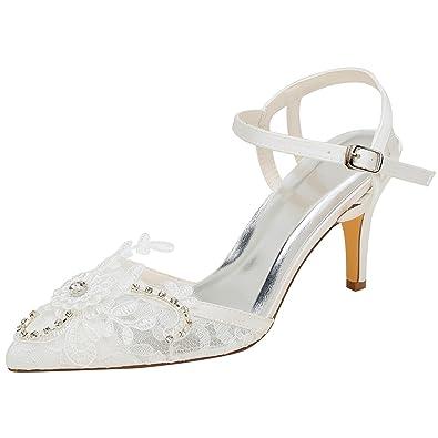 Emily Bridal Ivory Wedding Shoes Lace Pointed Toe Rhinestones Slingbacks  High Heel Pumps (EU36  2763f47994962