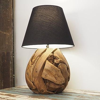 Wooden Table Lamp Unique Rustic Style Bedroom Hallway