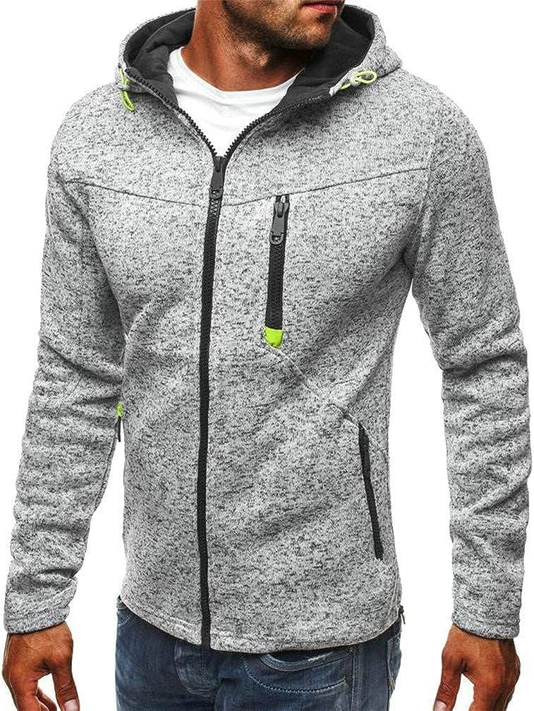 Mocilation Men Running Zipper Pocket Burnout Coat Jacket Hooded Sweatshirts