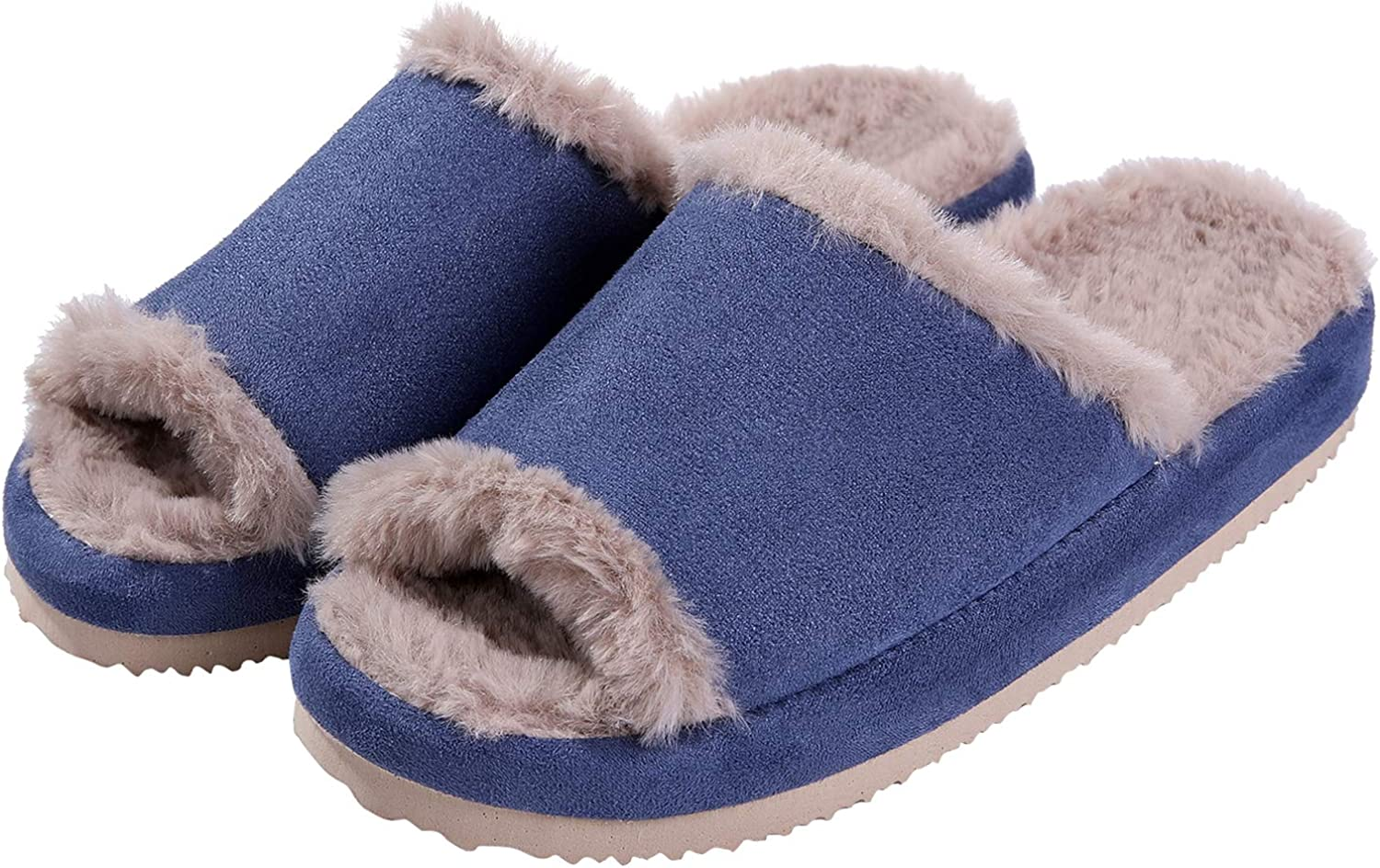 Fuzzy House Slippers for Women Faux Fur Peep Toe Indoor Winter Slippers