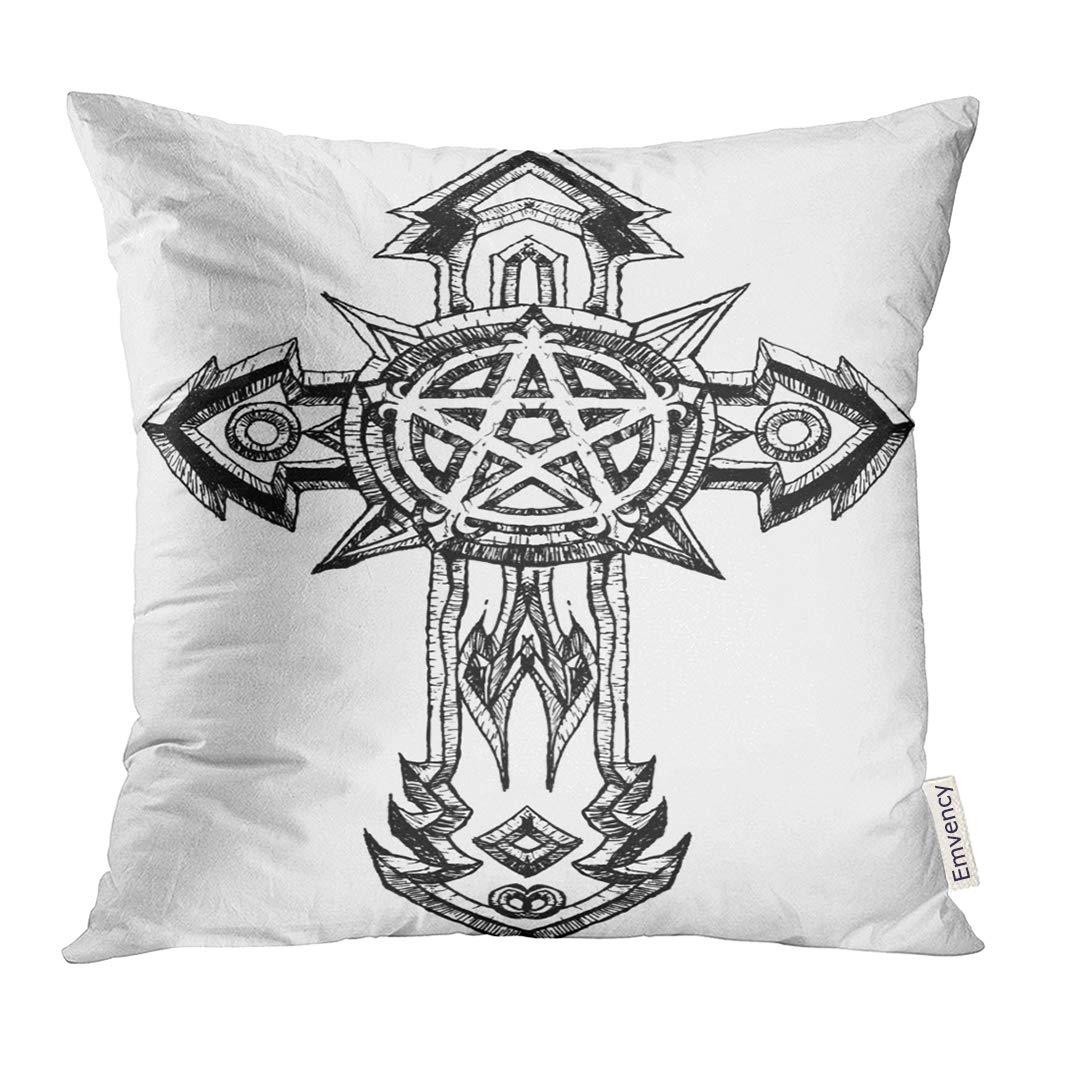 Amazon Com Upoos Throw Pillow Cover Cross Cruz Tattoo