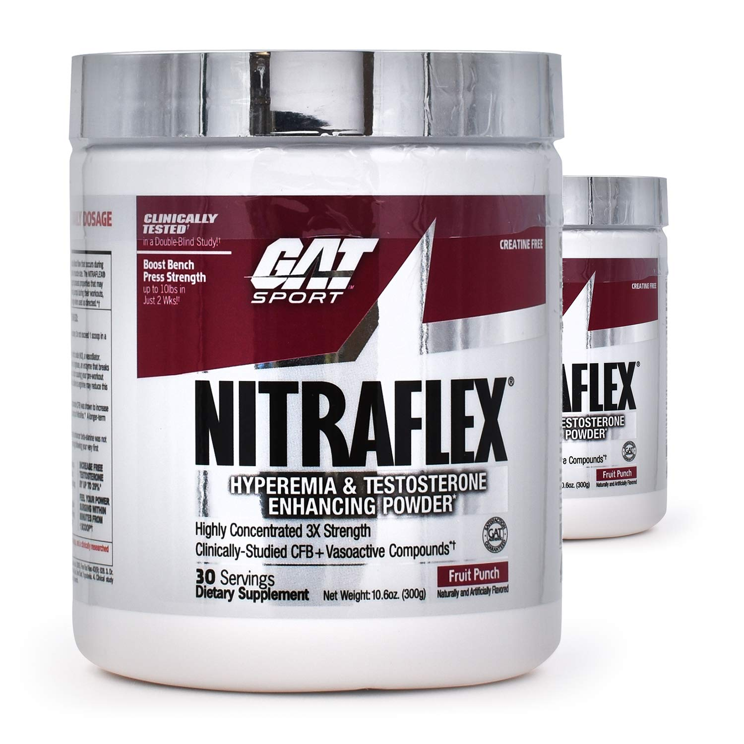 GAT Nitraflex Pre-Workout High-Intensity Training Formula, Pack of Two 30 Servings (Black Cherry)