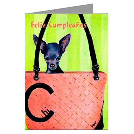 Amazon Single Greeting Card Of Blue Chihuahua In A Haute