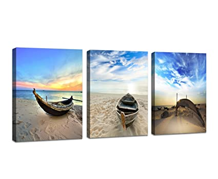 Amazon.com: Wall Art Framed Modern Small Boat Canvas Prints Artwork ...