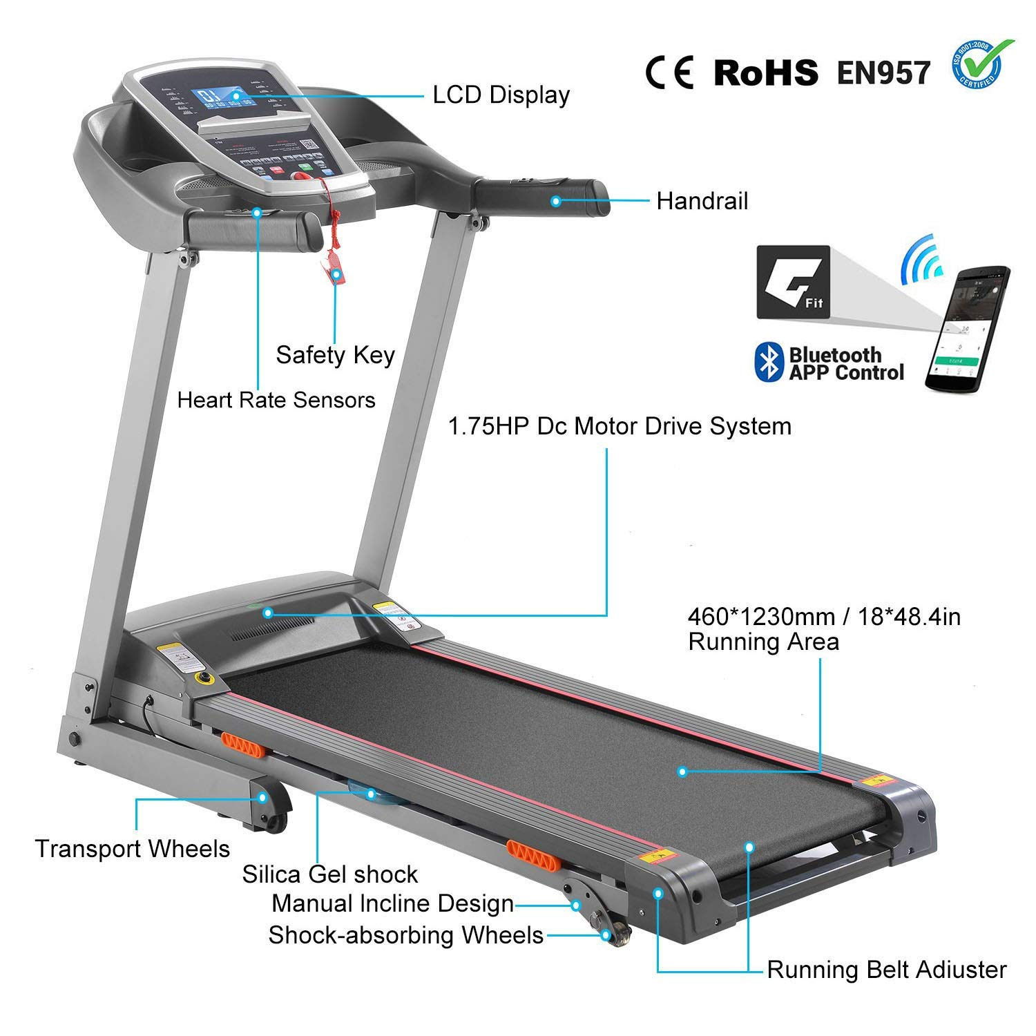 Miageek Fitness Folding Electric Jogging Treadmill with Smartphone APP Control, Walking Running Exercise Machine Incline Trainer Equipment Easy Assembly by Miageek (Image #3)