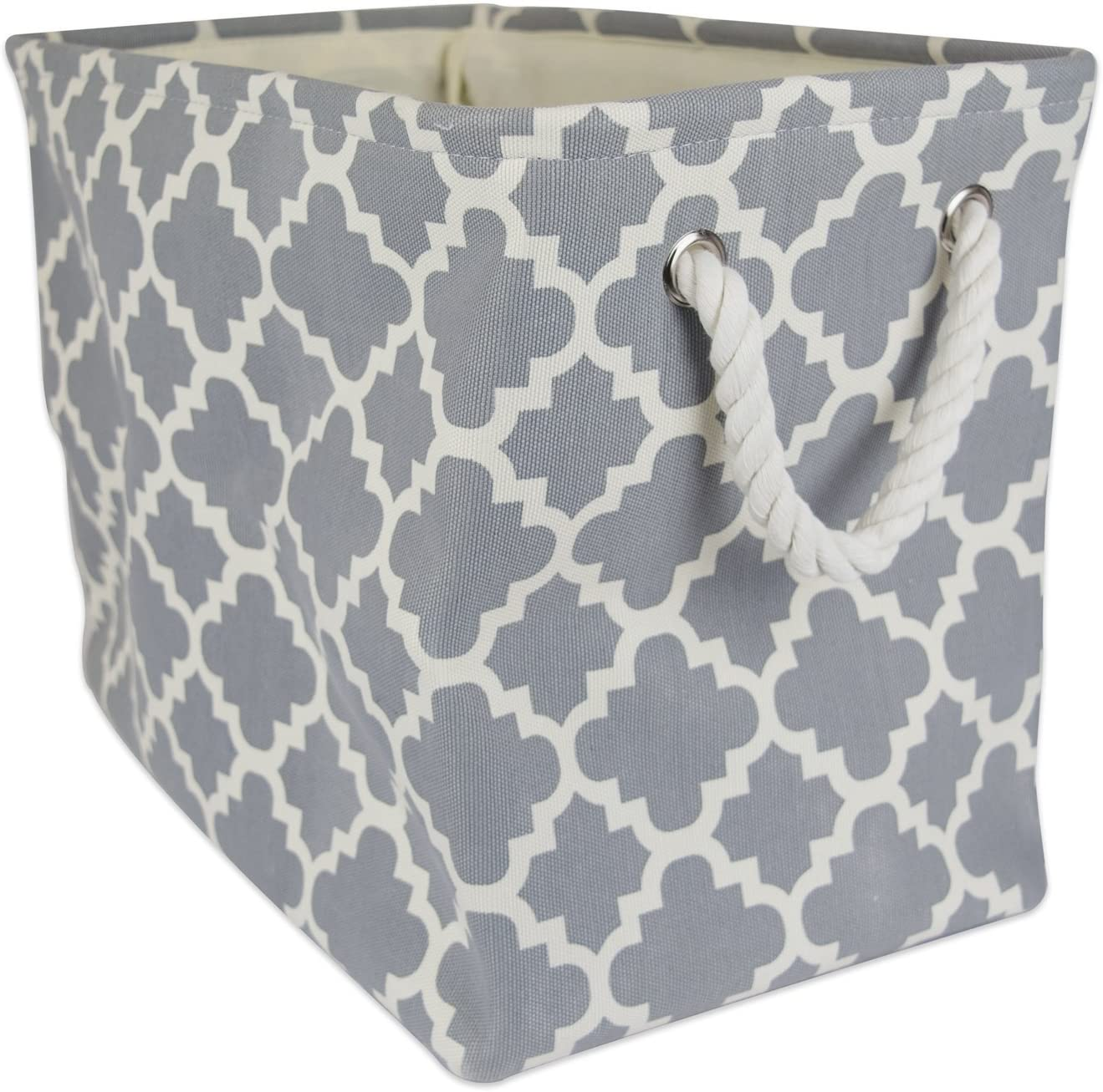 "DII Collapsible Polyester Storage Basket or Bin with Durable Cotton Handles, Home Organizer Solution for Office, Bedroom, Closet, Toys, Laundry (Small – 14x8x9""), Gray Lattice"