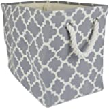 """DII Collapsible Polyester Storage Basket or Bin with Durable Cotton Handles, Home Organizer Solution for Office, Bedroom, Closet, Toys, Laundry (Large – 18x12x15""""), Gray Lattice"""