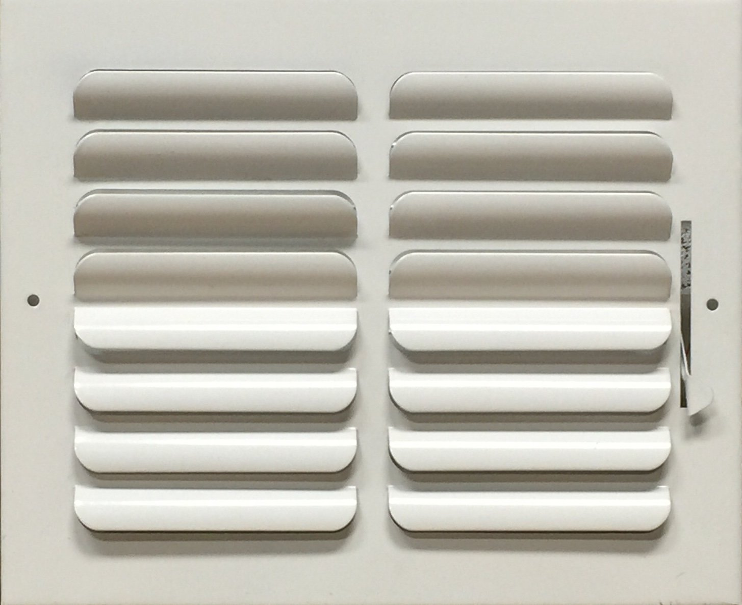 Curved blade multi-louver two-way ceiling or wall steel air register 10 x 8 duct opening size