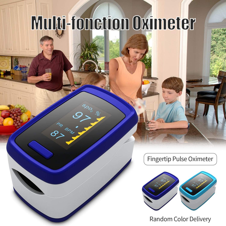 Blusea Saturimetro da Dito Pulsiossimetro Digital OLED Display Fingertip Pulse Oximeter Blood Oxygen Sensor Saturation SpO2 Monitor Measurement Meter Colore Casuale 1 Confezione