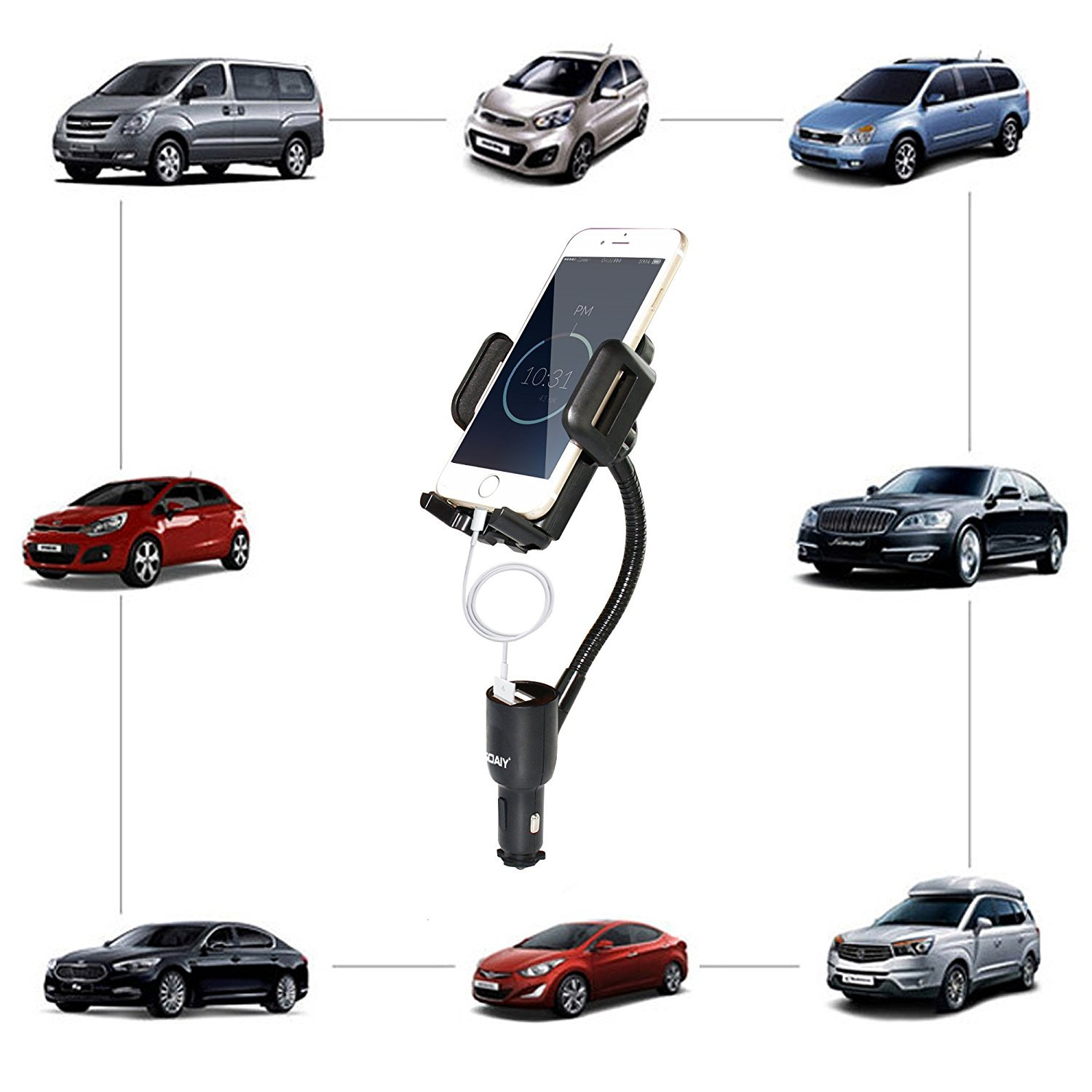 3-in-1 Cigarette Lighter Car Mount + Voltage Detector, SOAIY Car Mount Charger Holder Cradle w/Dual USB 3.1A Charger, Display Voltage Current Compatible with iPhone8 X 7 6s 6 5s Samsung S8 S7 S6 S5 by SOAIY (Image #8)