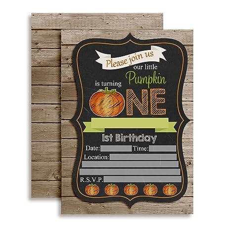 Amazon chalkboard pumpkin first birthday party invitations ten chalkboard pumpkin first birthday party invitations ten 5quotx7quot fill in cards with filmwisefo