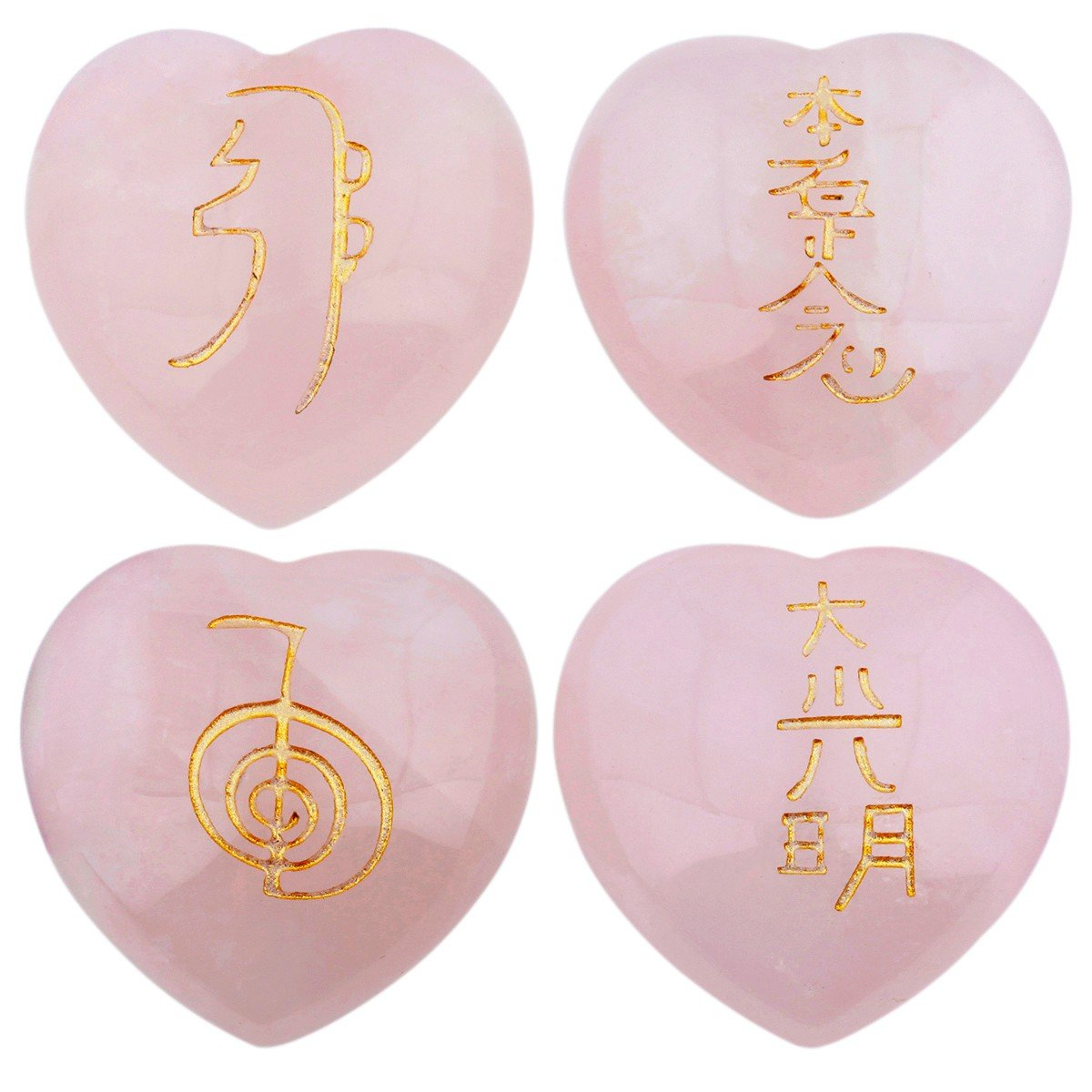 rockcloud Healing Crystal 4pcs Rose Quartz Heart Love Stones Hand Carved Worry Stones Palm Pocket Stone Reiki Balancing