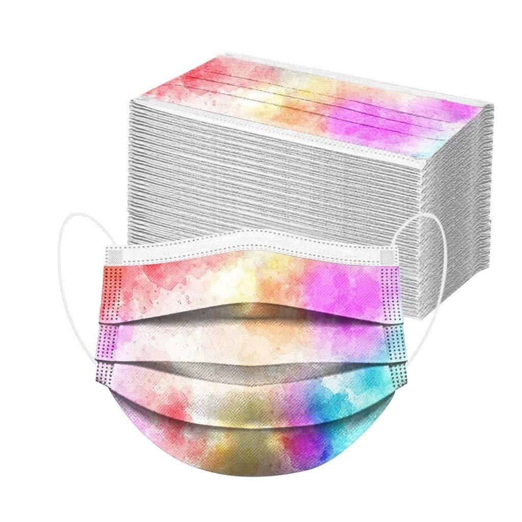 100 pc 𝐌𝐚𝐬𝐜𝐚𝐫𝐢𝐥𝐥𝐚𝐬 navideñas impresas de una sola vez de tres capas a prueba de polvo, transpirables, elásticas, para hombres y mujeres.Esencial para las salidas diarias a la escuela (A)