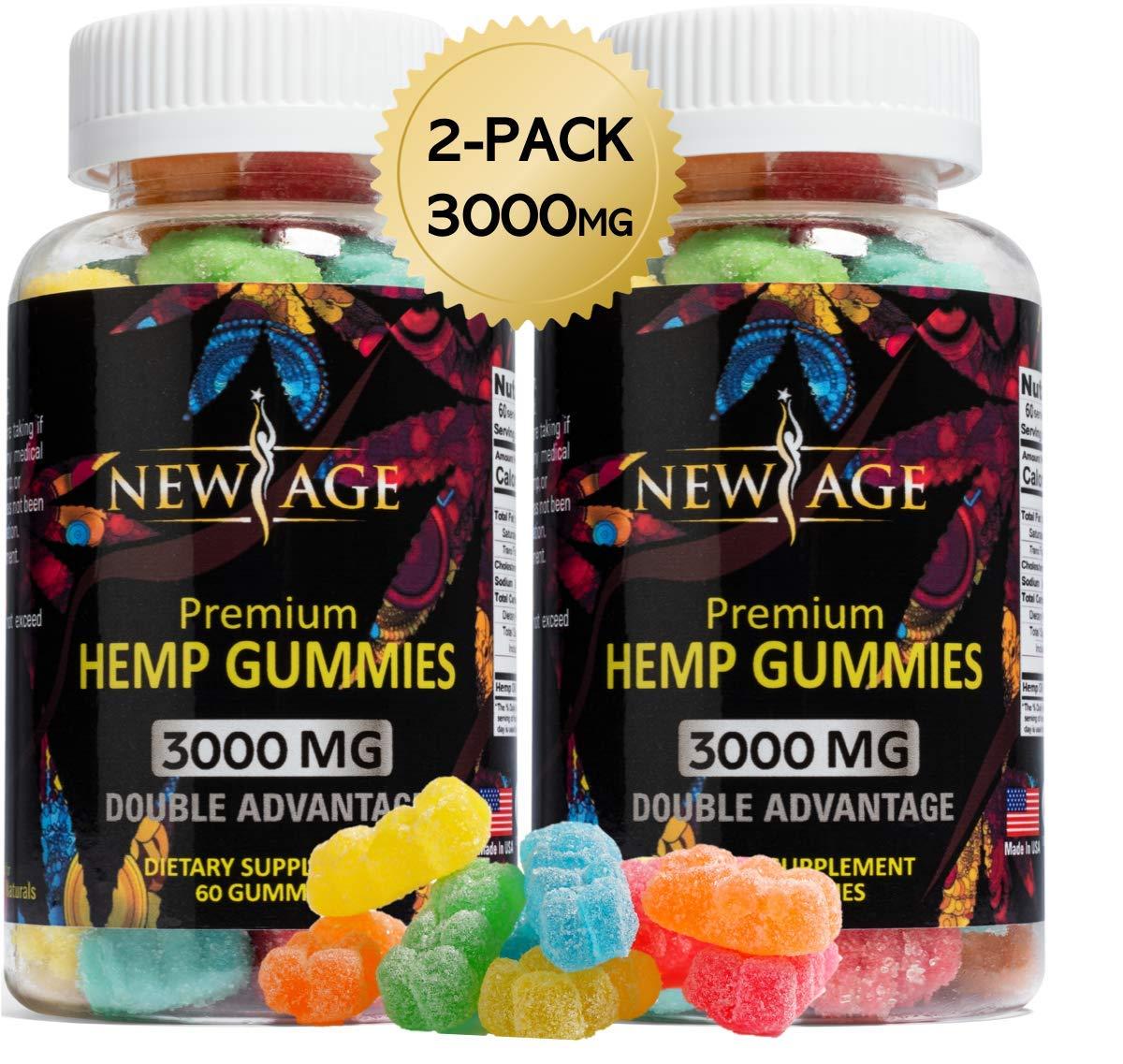 (2 Pack) New Age Naturals Advanced Hemp Big Gummies 3000mg 120ct - 100% Natural Hemp Oil Infused Gummies by New Age