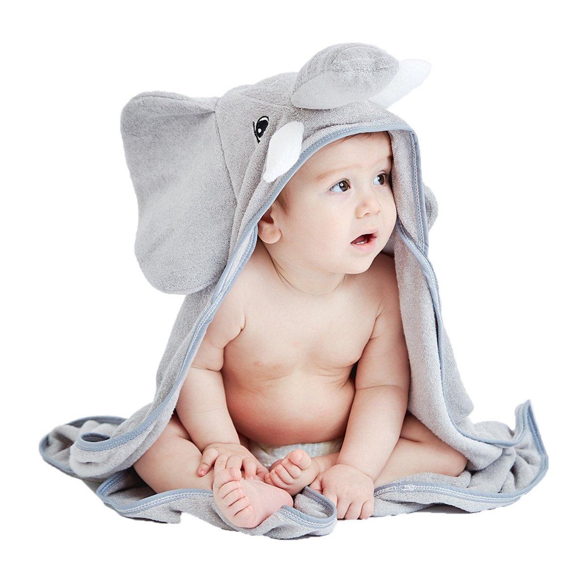 Storeofbaby Asciugamano con cappuccio baby 100% fibra di bambù super morbido assorbente con elefante stampato unisex Baby Hooded Towel_EU