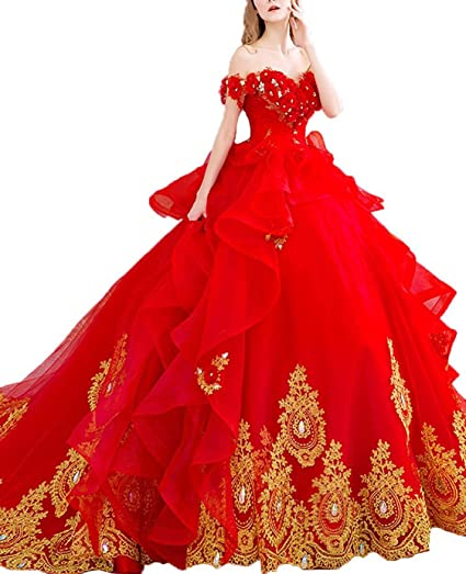 Amazoncom Fanciest Womens 2017 Gold Embroidery Quinceanera