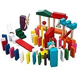 T-PRO 木製 ドミノ 倒し おもちゃ ギミック 階段 仕掛け 木 子供 幼児 小学生 3歳 1歳 知育 玩具 立体 ピタゴラ カラフル 牌 【全12色× 100個 (44×21×7mm) 】 【 ギミック 10個 セット 】
