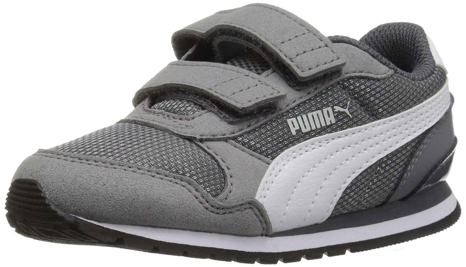 PUMA Baby ST Runner NL Velcro Kids Sneaker, Steel Gray White, 6 M US Toddler