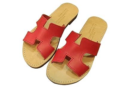 cf32807ae0f4 Ancient Greek Style Leather H Sandals Roman Handmade Womens Slide Shoes  Gladiator Spartan Hermes Summer Red Colour Slip-On Flat Heel Fashion Girls  Flip ...