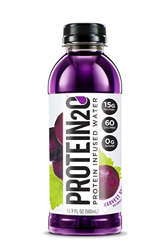 Protein2o Low-Calorie Protein Infused Water, 15g Whey Protein Isolate, Harvest Grape 16.9 Ounce, Pack of 12