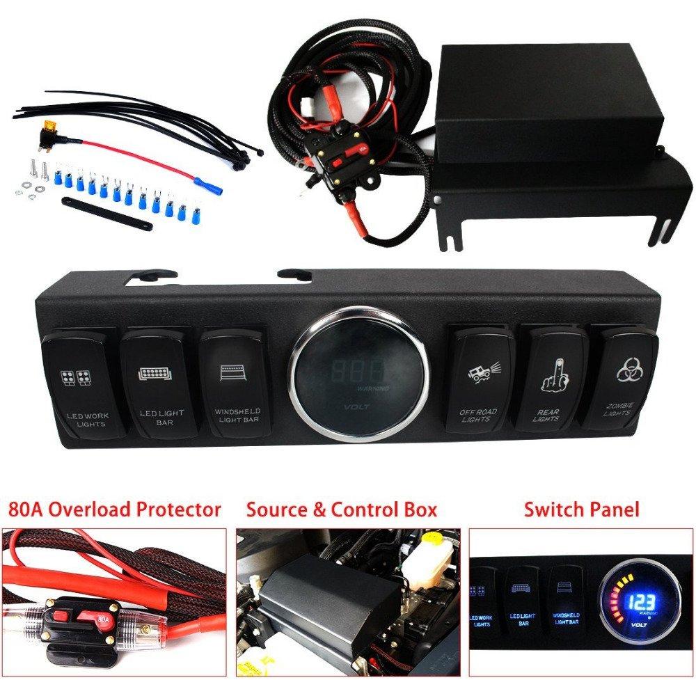 My Electronics Jeep Wrangler Jk Jku 2007 2018 Overhead 2008 Fuse Box 6 Switch Pod Panel Control Source System Blue Back Light Comes 10 Laser