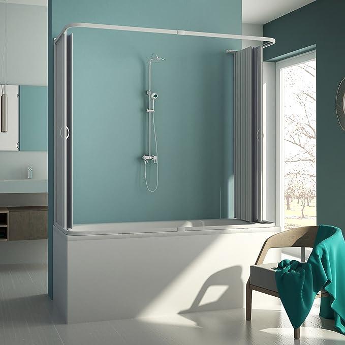 Forte BR230001 Mampara de bañera de 3 lados reducible, apertura ...